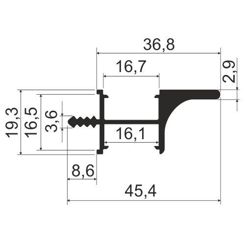 Профиль врезной с двухсторонней подсветкой KB 94